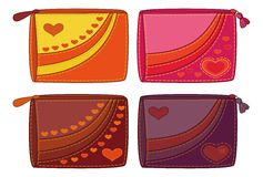 Set purses with valentine hearts Stock Photo