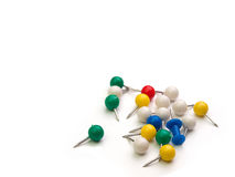 Set of push pins in different colors. Stock Photos