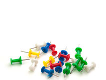 Set of push pins in different colors. Royalty Free Stock Photos
