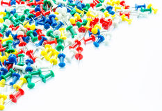 Set of push pins in different colors. On white background royalty free stock photos
