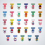 Set of pushpins, vector illustration. Stock Images