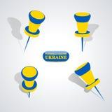 Set of pushpins, vector illustration. Stock Photography
