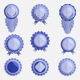 Set puste błękitne odznaki z faborkami royalty ilustracja