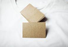 Set puste miejsca wykonuje ręcznie wizytówki na białym tshirt Zdjęcie Royalty Free