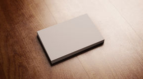 Set puste wizytówki na drewno stole Obraz Royalty Free