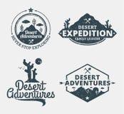Set pustynny przygoda logo royalty ilustracja