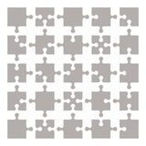 Set of puzzle elements 25 pieces. Vector illustration. Eps10 Stock Photos