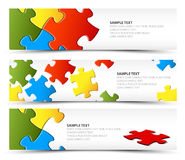 Set of puzzle horizontal banners Stock Illustration