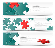 Set of puzzle horizontal banners Stock Photos