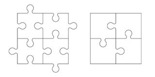 Set of puzzle pieces. Set of black and white puzzle pieces isolated on white background. Vector illustration Stock Image
