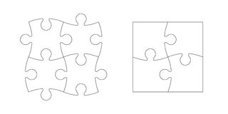 Set of puzzle pieces. Set of black and white puzzle pieces isolated on white background. Vector illustration Royalty Free Stock Photography