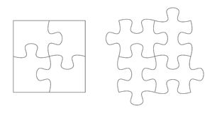 Set of puzzle pieces. Jigsaw puzzle four vector flat blank templates set.  vector illustration