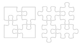 Set of puzzle pieces. Jigsaw puzzle four vector flat blank templates set.  stock illustration