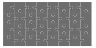 Set of puzzle pieces. Set of black and white puzzle pieces isolated on white background. Vector illustration royalty free illustration