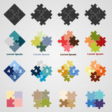 Set of puzzle symbols,  illustration. Set of puzzle symbols, illustration Stock Photography