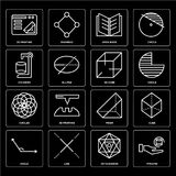 Set of Pyramid, Octahedron, Angle, Prism, Circles, 3d cube, Cylinder, Open book, printing icons. Set Of 16 icons such as Pyramid, Octahedron, Line, Angle, Cube Stock Photos