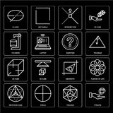 Set of Pyramid, Triangle, Metatron cube, Geometry, 3d Question, Cylinder, Intersection, Ellipse icons. Set Of 16 icons such as Pyramid, Triangle, Circle Stock Photos