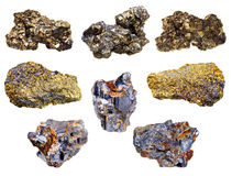 Set of pyrite and chalcopyrite minerals. Isolated on white background Royalty Free Stock Photos