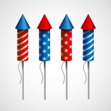 Set of pyrotechnic rockets. Vector illustration Stock Image