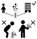 Set of Pyrotechnics Safety Precaution Measures Information Rules. Flat Black Pictograms People Icons  on White Background Royalty Free Stock Image