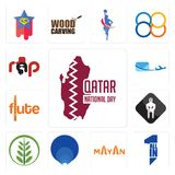 Set of qatar national day, all in one, mayan, golden ratio, fern, white spartan, flute, air mail, rap icons. Set Of 13 simple editable icons such as qatar Stock Photography