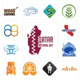Set of qatar national day, mayan, white spartan, mandarin, orange lion, astronaut helmet, , west coast, 88 icons. Set Of 13 simple  icons such as qatar national Stock Photo