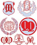 Set of QQ monograms and emblem templates Royalty Free Stock Image
