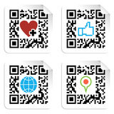 Set of QR codes with social media icons Royalty Free Stock Images