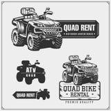 Set of Quad bike competition emblems, labels and design elements. stock illustration