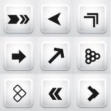 Set quadratische Anwendungstasten: Pfeile Stockfotografie