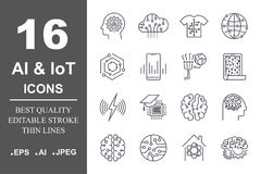 Set of 16 quality icons about AI, IoT,future technology. Editable Stroke. EPS 10 Stock Photography