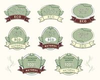 Set quality labels for natural ingredient. Food or cosmetic or medicine Stock Photo