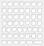 Set of 49 Quality White Shields Stock Image