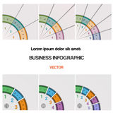 Set, quarter ring chart, template with text areas Royalty Free Stock Photography