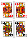 Set of queens playing cards 62x90 mm Stock Photos