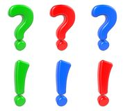 Set Question and Exclamation Mark, Isolated on Royalty Free Stock Photo