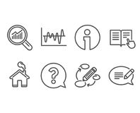 Question mark, Stock analysis and Data analysis icons. Read instruction, Keywords and Message signs. Set of Question mark, Stock analysis and Data analysis Stock Photography