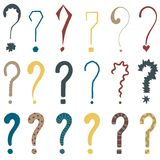 Set of 18 question marks for design. Set of 18 question marks for design on the white background Royalty Free Stock Image