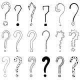 Set of 18 question marks for design. Set of 18 question marks for design on the white background Stock Images