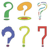 A set of 6 questions. Question marks in different colors Stock Photography