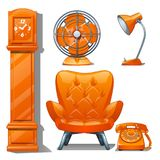 Set of quilted leather chair orange color, table lamp, fan, grandfather clock and telephone. Furniture for interior. Modern style isolated on white background stock illustration