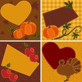 Set of quilted Thanksgiving cards Stock Photo