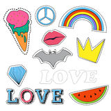 Set of quirky cartoon patch badges or fashion pin Stock Images