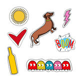 Set of quirky cartoon patch badges or fashion pin Stock Photos