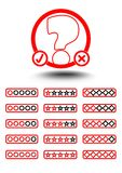 Set of quiz elements - quiz emblem and button to select difficulty Royalty Free Stock Photography