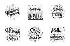 A set of quotations about the cosmos, the universe, the galaxy. Space travel, lettingering handmade. Astronomy quote. Typographical sign - banner, sweet vector illustration