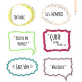 Set of quote forms template, speech bubble. Postmodernist design in Memphis style. Vector Stock Photo