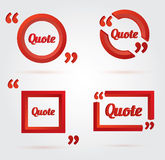 Set of Quote template with 3d form. Set of Quote template with 3d red form. Quote bubble. Empty template. Vector illustration Stock Images