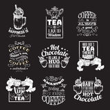 Set of quote typographical background about hot chocolate tea and coffee. With hand drawn illustration of cup with whipped cream,candy,syrup. Vector template Royalty Free Stock Photo