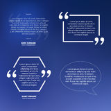 Set of  quotes on blue background, speech bubble Royalty Free Stock Image